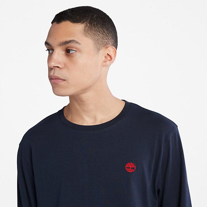 T-shirt à logo arbre pour homme en bleu marine-