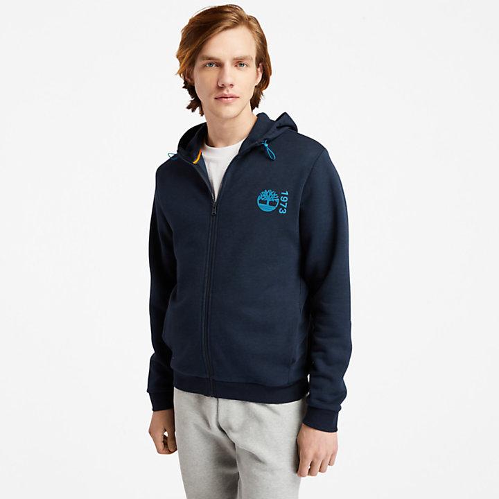 Felpa da Uomo con Cappuccio e Zip Re-Comfort EK+ in blu marino-