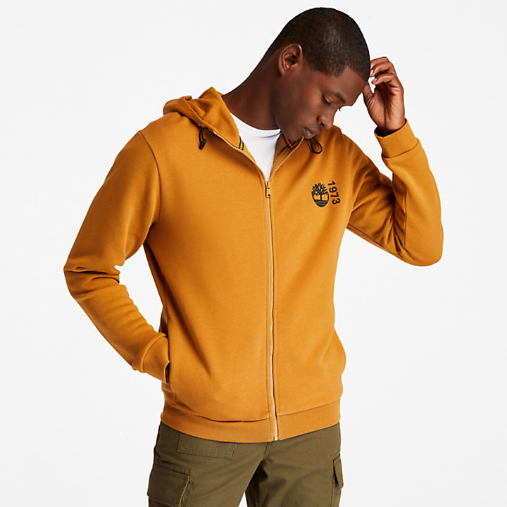 Felpa da Uomo con Cappuccio e Zip Re-Comfort EK+ in giallo-
