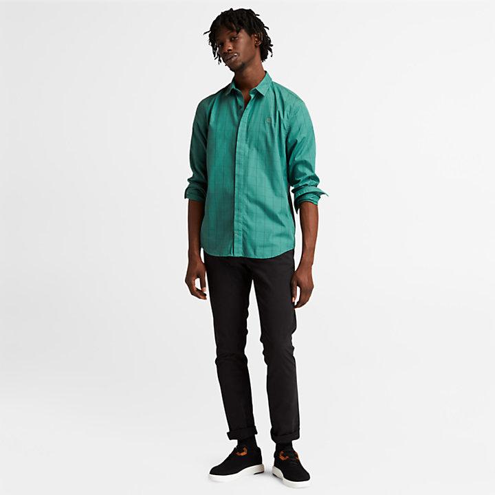 Chemise à carreaux en Tencel™ pour homme en vert-