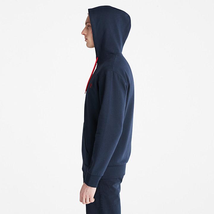 Sweat à capuche zippé Oyster River pour homme en bleu marine-