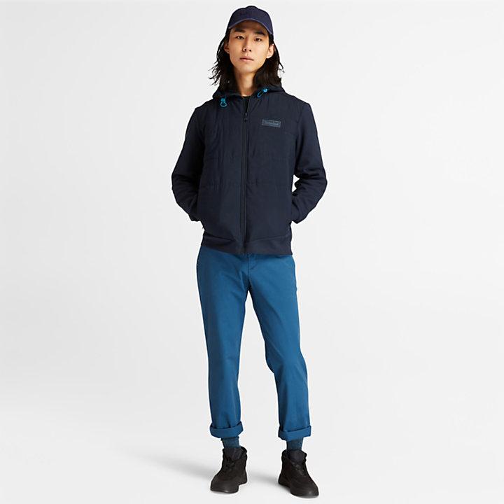 Veste sweat-shirt hybride pour homme en bleu marine-