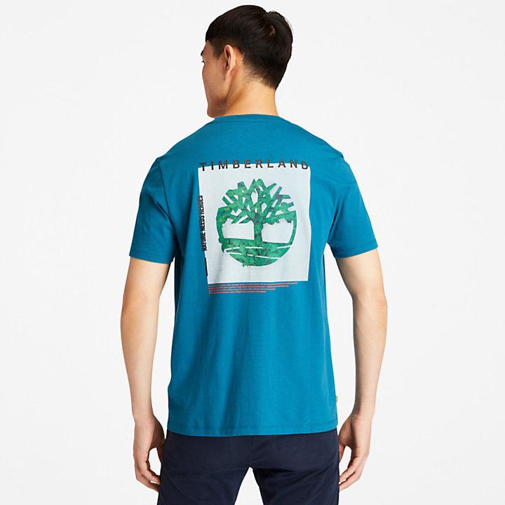 T-shirt da Uomo con Logo Grafico sul Retro in verde acqua-