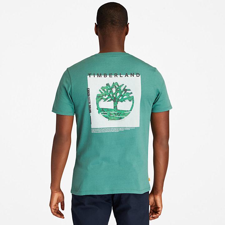Back-Graphic Logo T-Shirt for Men in Green-