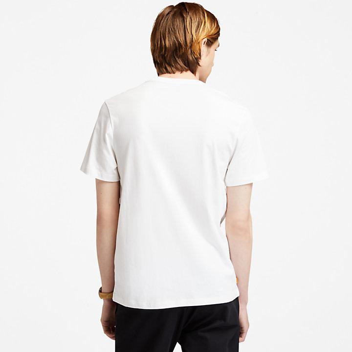 T-shirt voor heren met 1973-print op de borst in wit-