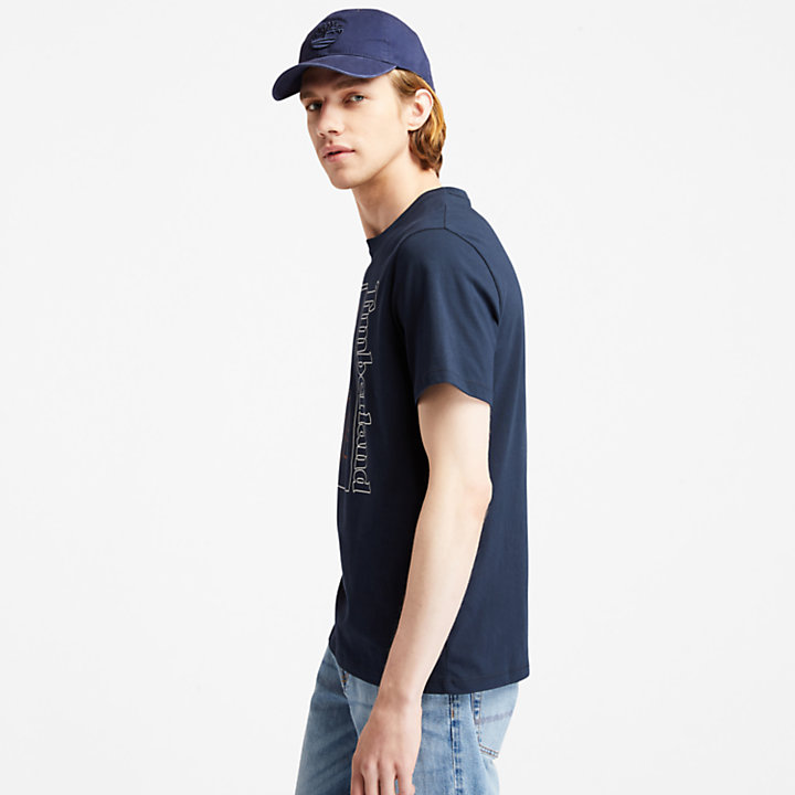 T-shirt da Uomo con Grafica 1973 sul Davanti in blu marino-