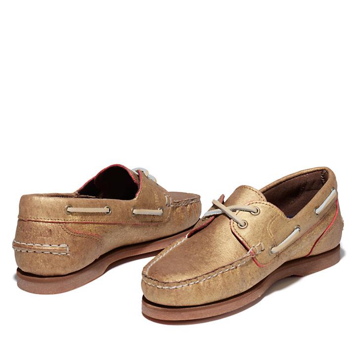 Chaussure bateau classique EK+ pour femme en or-