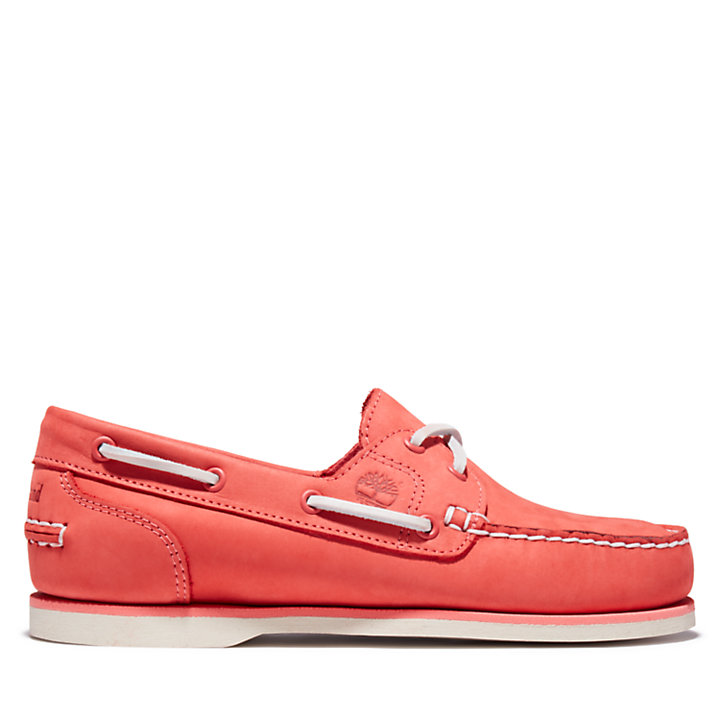 Classic 2-Eye Boat Shoe for Women in Red-
