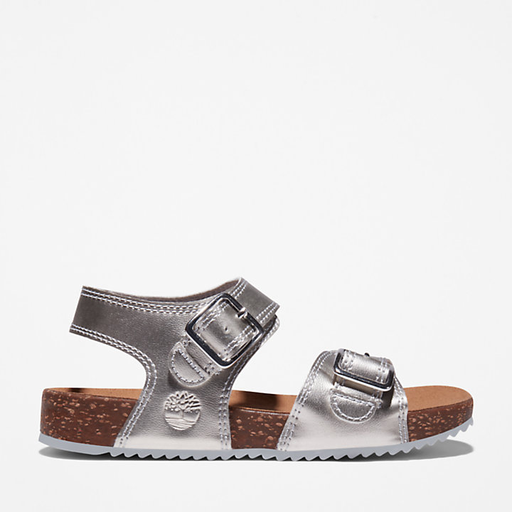 Castle Island Backstrap Sandal for Youth in Silver-