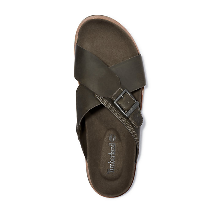 Amalfi Vibes Cross Slide Sandal for Men in Green or Greige or Brown or Grey-