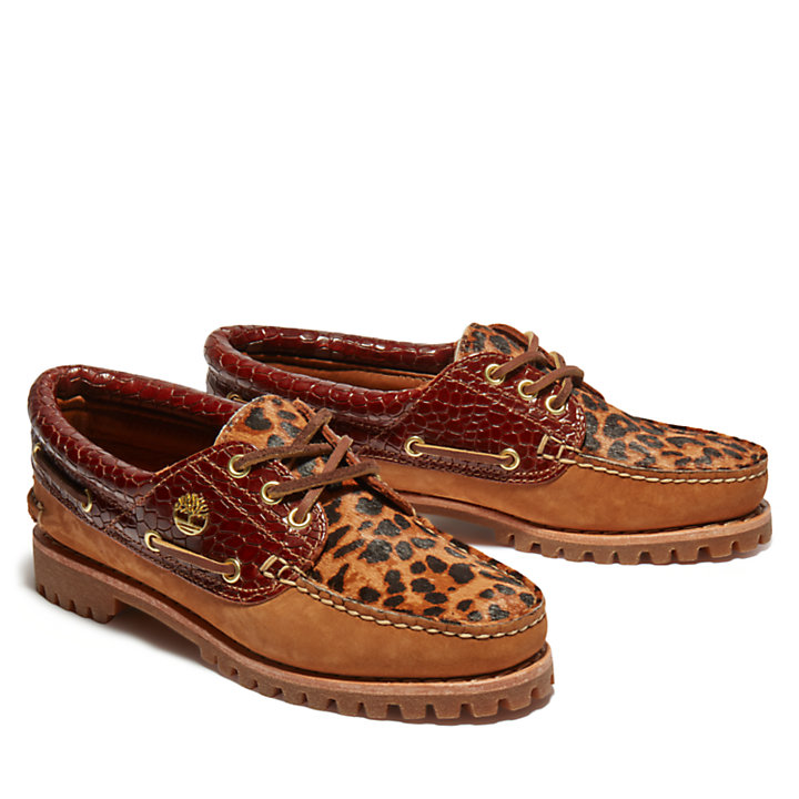 Noreen 3-Eye Boat Shoe for Women with Animalier Print-