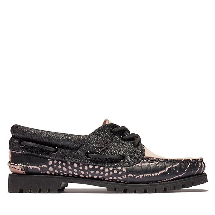 Sapato de Vela 3 Ilhós Noreen p/ Mulher em preto/cor-de-rosa-