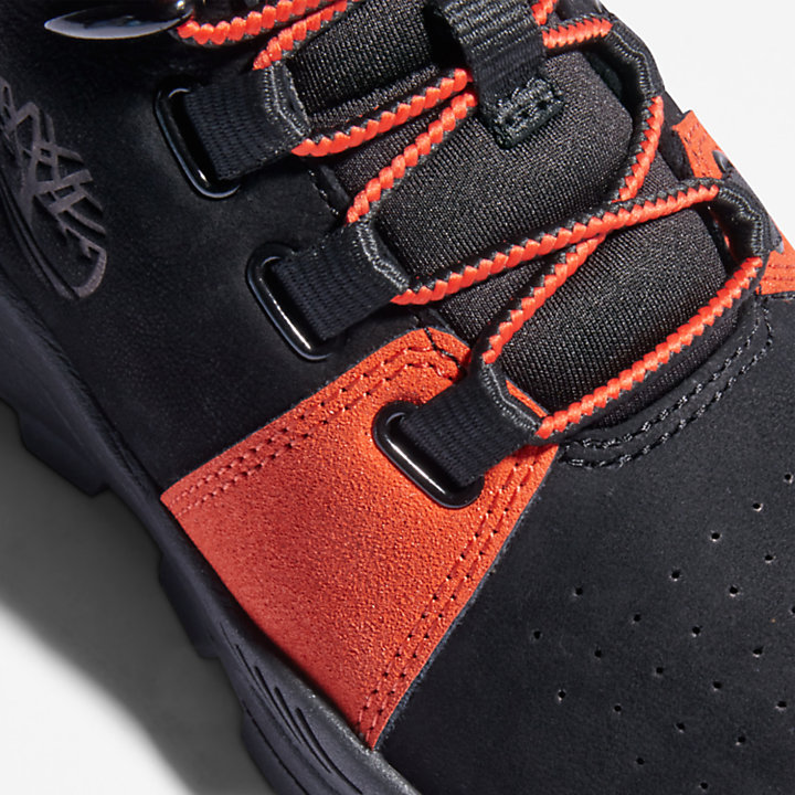 Brooklyn Lace-Up Trainer for Youth in Black/Orange-