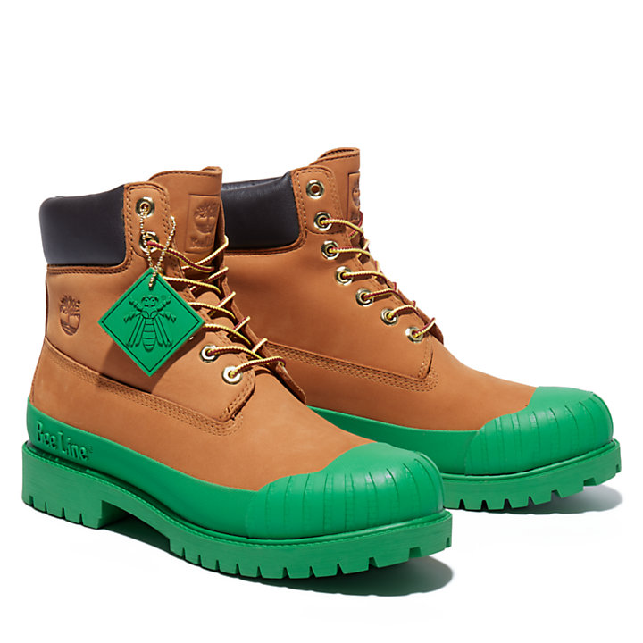 Beeline x Timberland® 6 Inch Rubber Toe Boot for Men in Yellow/Dark Green-