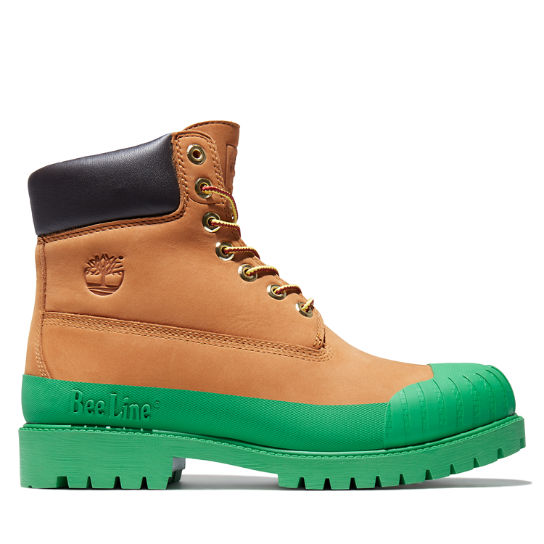 Beeline x Timberland® 6 Inch Rubber Toe Boot for Men in Yellow/Dark Green | Timberland
