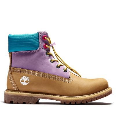 Premium+6+Inch+Boot+for+Women+in+Yellow%2FLilac
