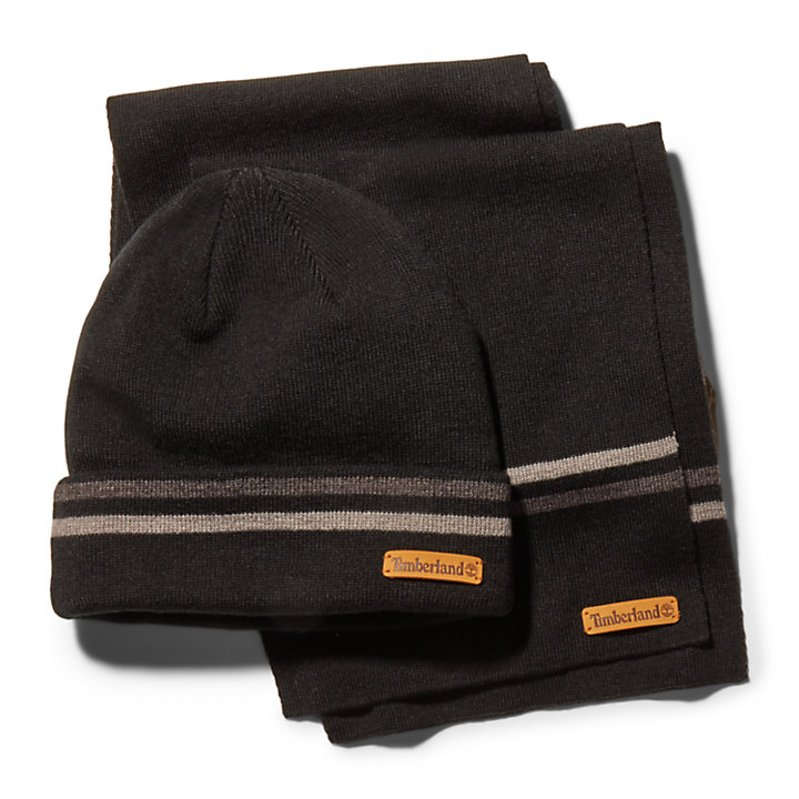 Striped Beanie and Scarf Gift Set for Men in Black-