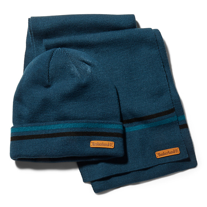 Striped Beanie and Scarf Gift Set for Men in Blue-