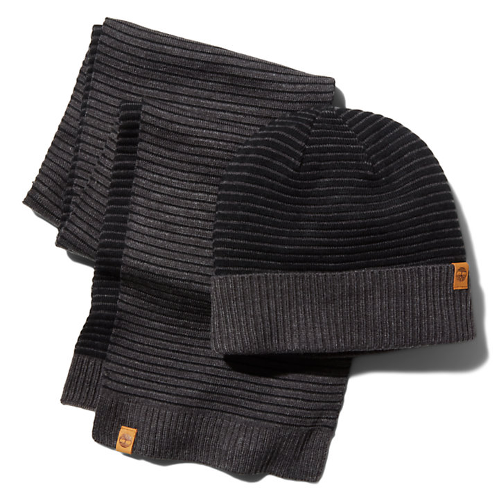 Ottoman-Rib Beanie and Scarf Gift Set for Men in Grey-