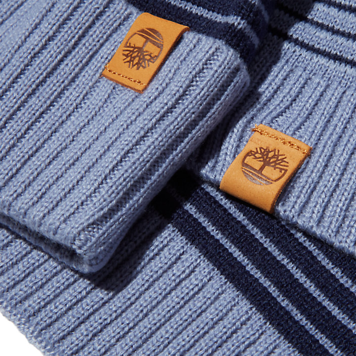 Ottoman-Rib Beanie and Scarf Gift Set for Men in Blue-