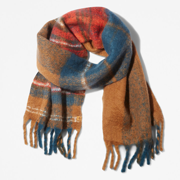 Check Blanket Scarf for Women in Yellow-