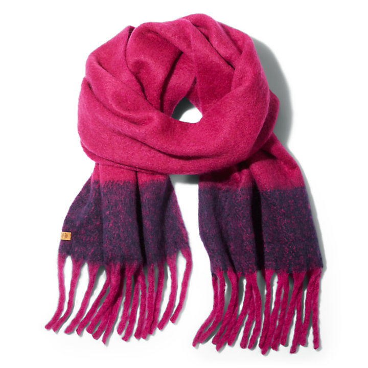 Colour-Block Blanket Scarf for Women in Pink-