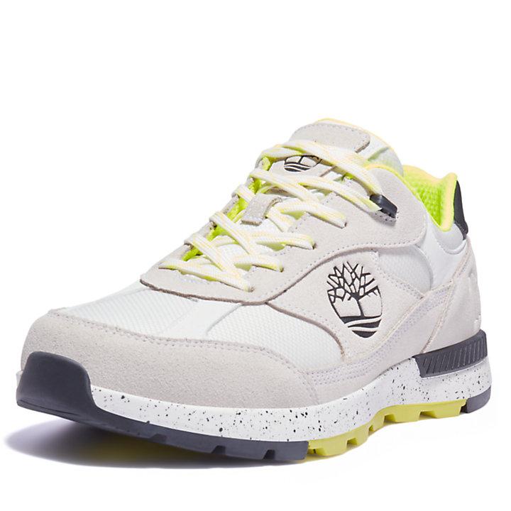 Field Trekker Leather/Fabric Trainer for Men in White/Green-