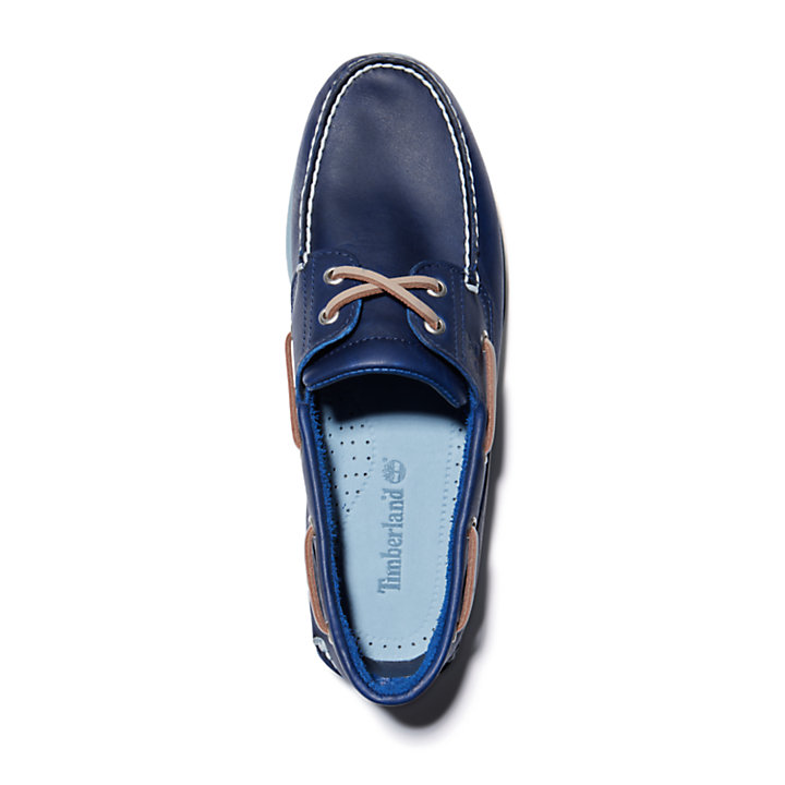 Chaussure bateau classique pleine fleur pour homme en bleu marine-