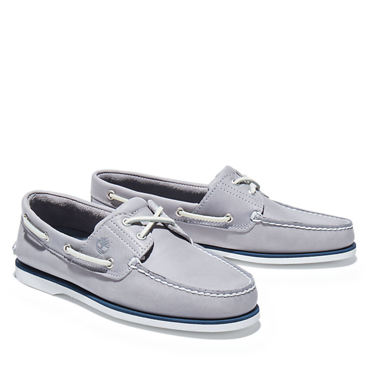 Classic Full-grain Boat Shoe for Men in Grey-