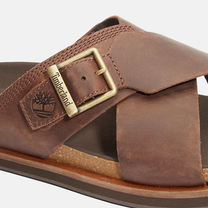 Sandalia de Tiras Cruzadas Amalfi Vibes para Hombre en marrón-
