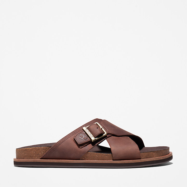 Amalfi Vibes Cross Slide Sandal for Men in Brown-