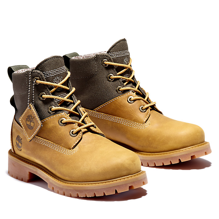 Premium 6 Inch Winter Boot for Youth in Yellow/Greige-
