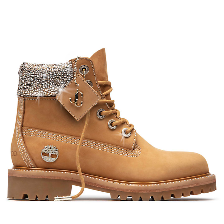 Jimmy Choo x Timberland 6-Inch Boots for Women in Yellow with Crystals-