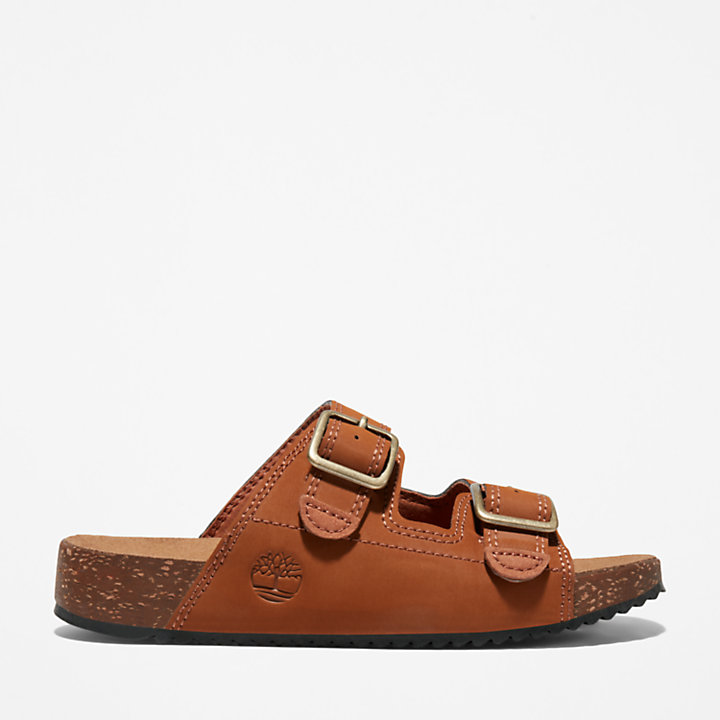 Castle Island Slide Sandal for Youth in Brown-