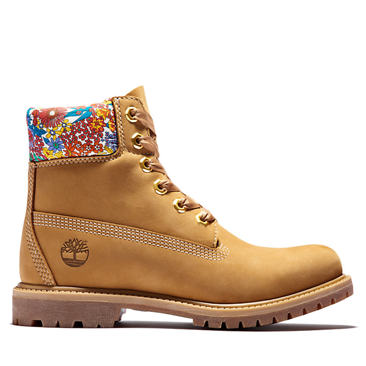 Scarponcino da Donna Timberland Made with Liberty Fabrics 6 Inch in giallo-