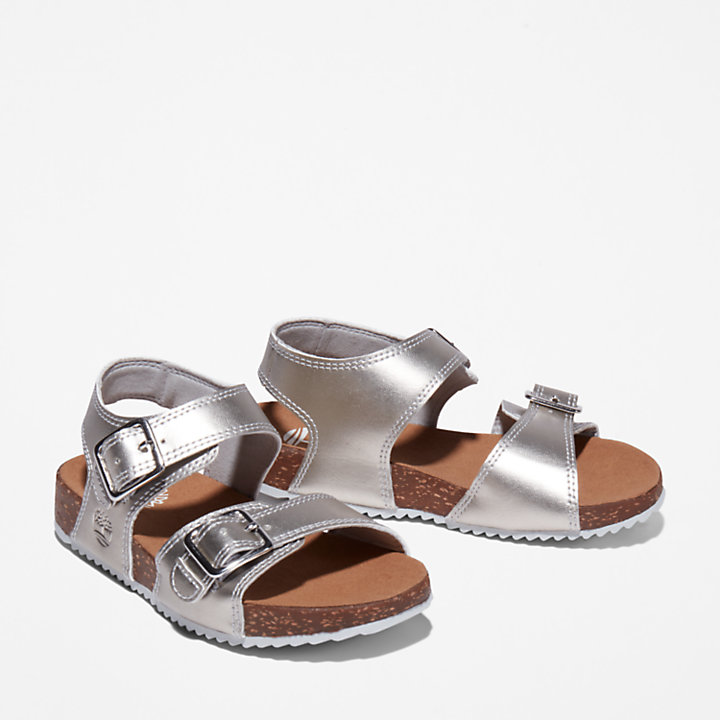Castle Island Backstrap Sandal for Junior in Silver-