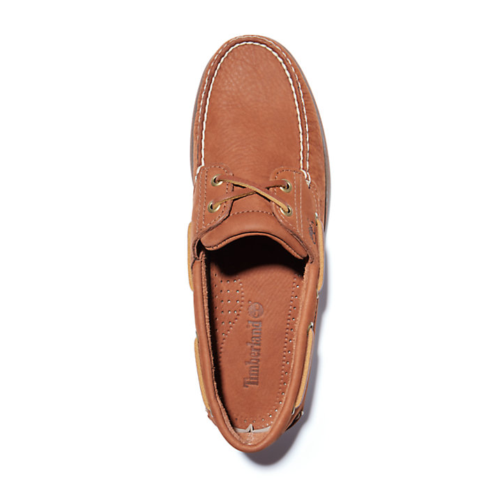 Classic Nubuck Boat Shoe for Men in Light Brown-