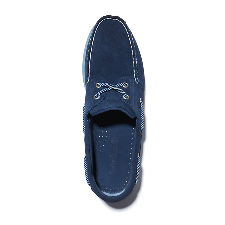 Classic Suede Boat Shoe for Men in Navy-