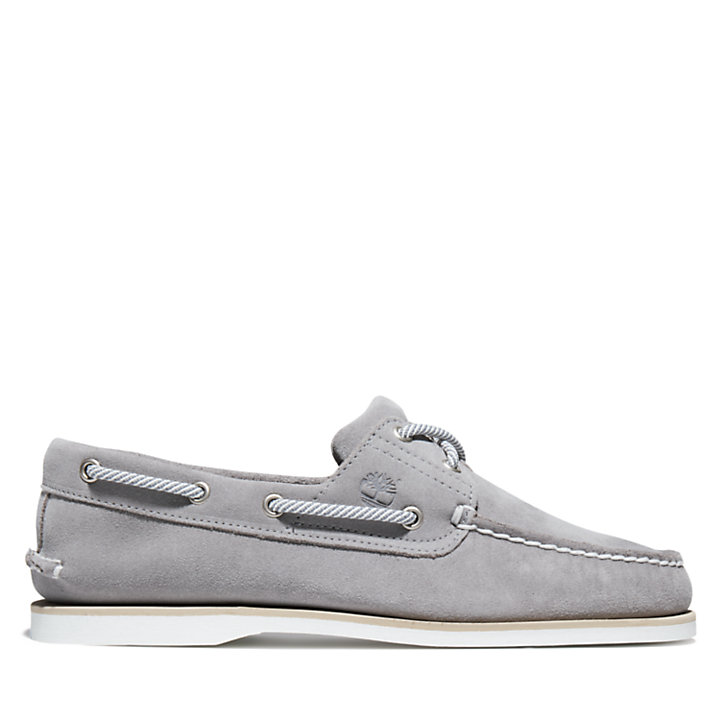 Classic Suede Boat Shoe for Men in Grey-