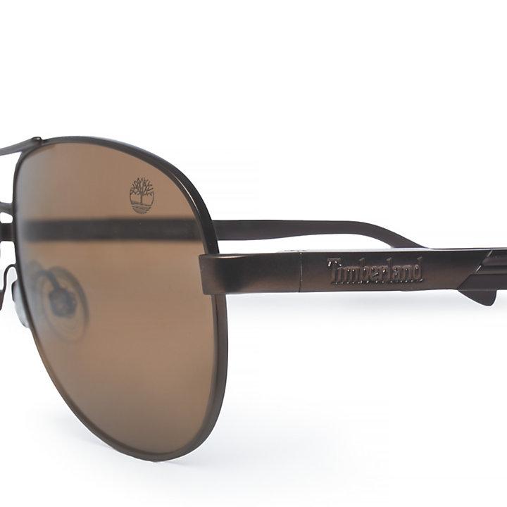 Metal Aviator Sonnenbrille für Herren in Braun-