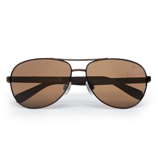 Óculos de Sol de Aviador Metalizados para Homem em Castanho   Timberland 5ac7945767
