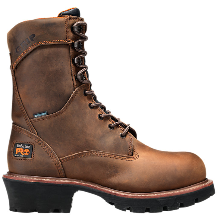 "Men's Timberland PRO® Rip Saw 9"" Steel Toe Waterproof Logger Boots-"