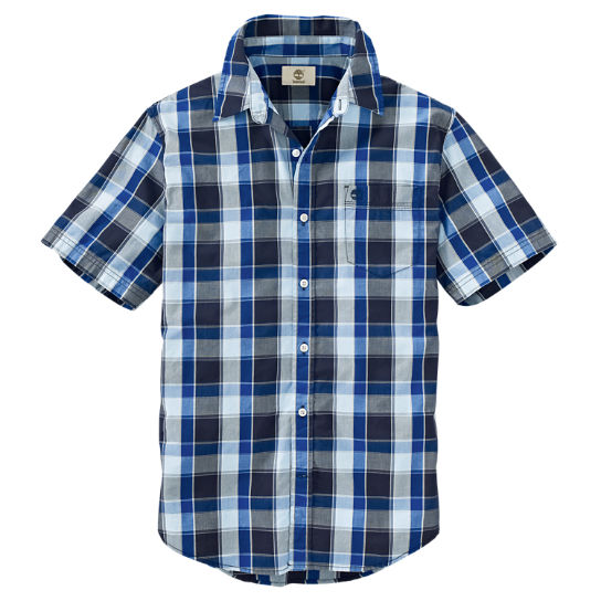 Timberland men 39 s short sleeve perry stream plaid shirt Short sleeve plaid shirts