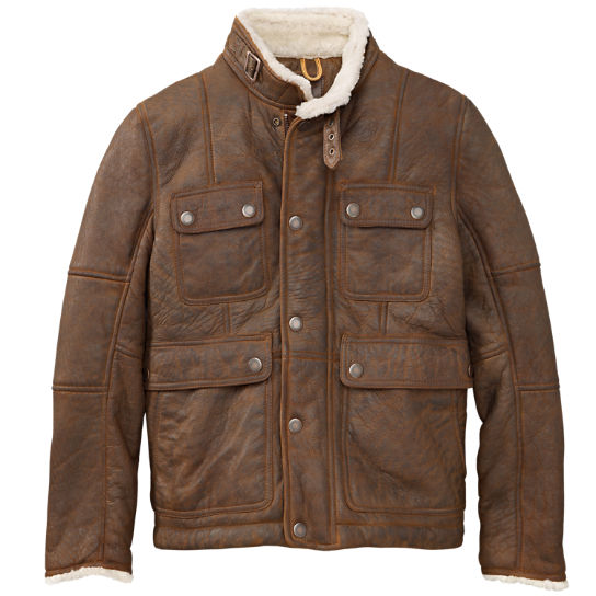 Men S Mount Major Shearling Leather Jacket Timberland Us