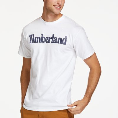 Men S Faded Linear Logo T Shirt Timberland Us Store