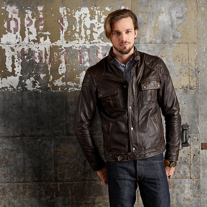 Men's Skye Peak Slim Fit Quilted Leather Jacket-