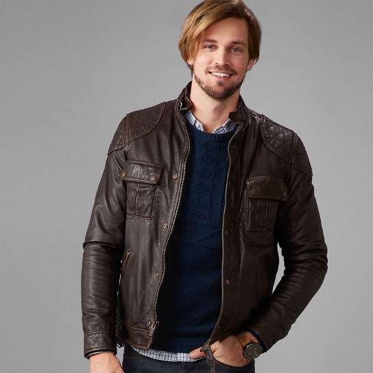 Men's Skye Peak Slim Fit Quilted Leather Jacket