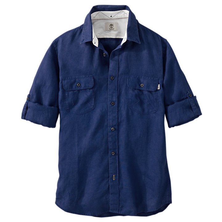 Men's Warner River Slim Fit Linen Cargo Shirt-