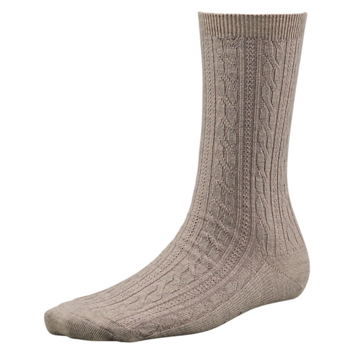 Women's Merino Wool Cable-Knit Crew Socks-