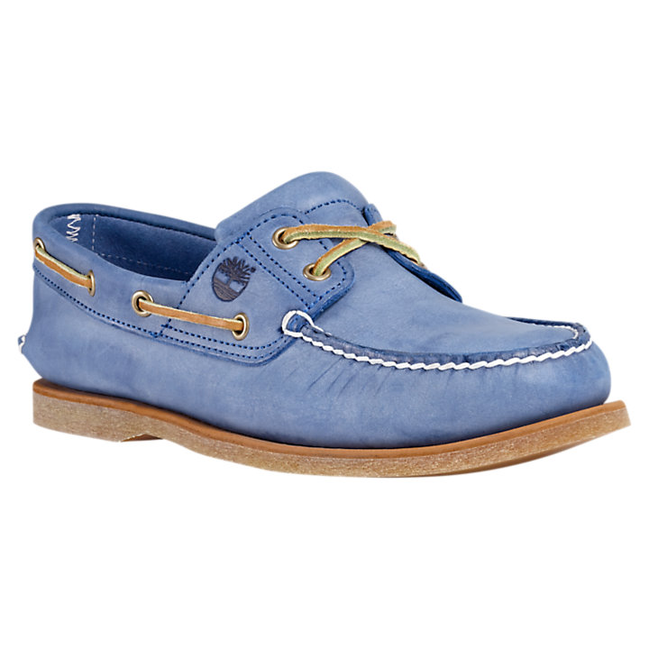 timberland classic 2 eye boat shoe blue